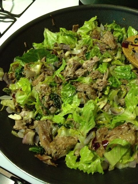 Oxtail & romaine stir fry